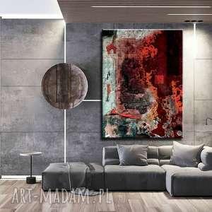 strukturalna lawa - abstrakcyjne obrazy do modnego salonu, czerwona dekoracja
