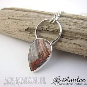 Naszyjnik z agatem crazy lace, rudy naszyjnik, srebrny wisior, jesienna biżuteria