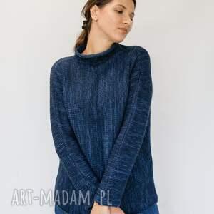 swetry prosty granatowy sweter, swetr damski z wełny, wełniany seter