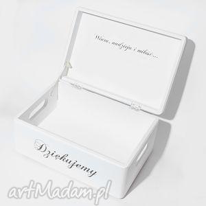 Ślubne pudełko na koperty Kopertówka Uniwersalne Napis Dziękujemy Love