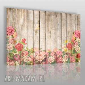 vaku dsgn obraz na płótnie - rustykalny kwiaty drewno 120x80 cm 83801