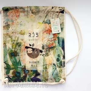 słodkie nic plecak / worek torba - płócienna, eco, dzień-matki, leniwiec, bawełna