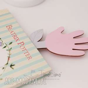 Zakładka do książki ręcznie robiona Łapka-Kwiatek (Różowy), drewno