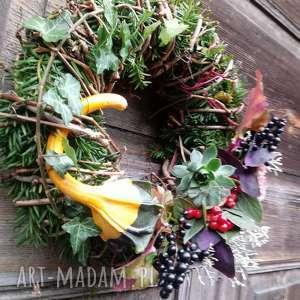 wianek na drzwi, natura, dynia, stroik, dekoracje, bluszcz świąteczne