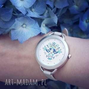 ręcznie wykonane zegarki zegarek - folkowe ptaszki, niebieskie