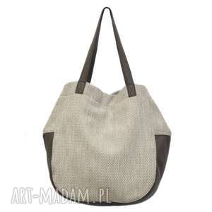 24-0005 biało-beżowa torebka damska worek / torba na studia swallow