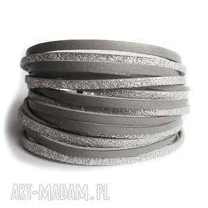 handmade bransoletka skórzana srebrno-szara