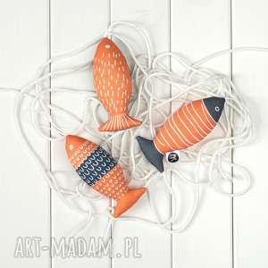 ryba pomarańczowo-szara, zestaw 3 ryb, eco dekoracja, eco, skandynawski styl