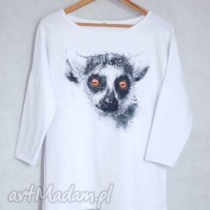 LEMUR bluzka oversize bawełniana S/M biała, bluzka, koszulka, bluza, bawełna, nadruk