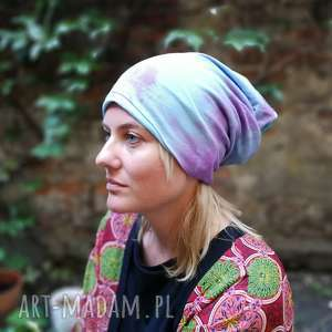 czapka dzianinowa wiosenna farbowana ręcznie, wiosna, etno, boho