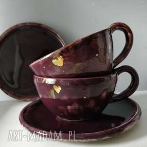 zestaw składający sie z dwóch filiżanek za spodkami, ceramika, filiżanki