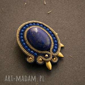 klipsy elegancka broszka soutache z lapisem lazuli, broszka, sutasz