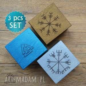 Zestaw prezentowy Wiking II: 3 małe drewniane pudełka z runami, wiking, wikingowie