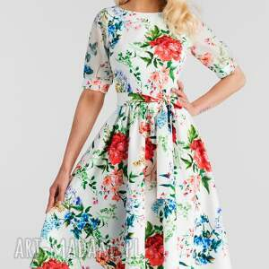 Sukienka LUIZA Midi Ariana, rozkloszowana, kwiaty