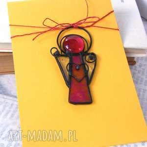 kartki kartka na życzenia z wysokim aniołkiem, witrażowy aniołek, aniołek