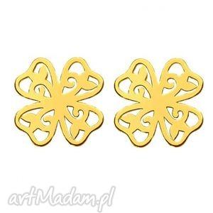 handmade kolczyki powiększ do pełnego rozmiaru new złote kolczyki ażurowe koniczynki