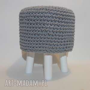 pufa szara szydełkowa -białe nogi - 36 cm, puf, szydełko, taboret, hocker