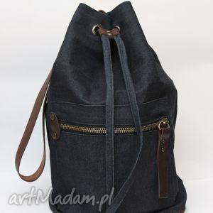 torebki jeansowy worek, jeansowy, granatowy, work