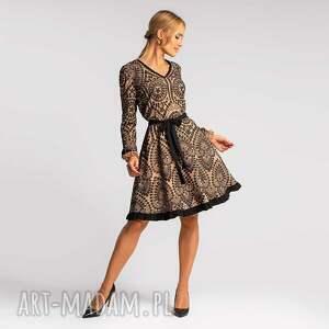 sukienka sava mini donatella beżowo-czarna, wieczorowa sukienka
