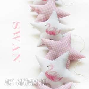 swan - girlanda - girlanda, gwiazdka, swan, łabędź, gwiazdki