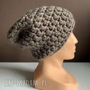 ręcznie zrobione czapki robiona czapka chunky szary brąz hand made