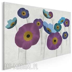 Obraz na płótnie - maki kwiaty fiolet błękit 120x80 cm 86801