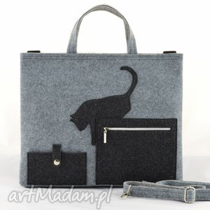 duża szara filcowa torebka - torba na laptopa z kotkiem, laptop, kot, szary, filc