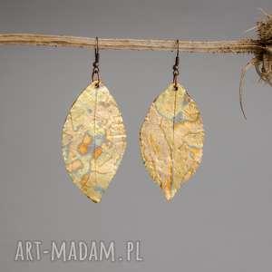 Kolczyki Liście Glamorous, liście, kolczyki, złote-kolczyki, polymerclay, fimo,