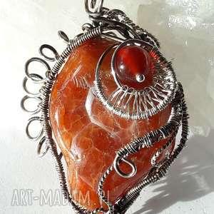 janish pracownia wisior karneol, wire, wrapping, srebro, oryginalny prezent