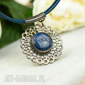 naszyjniki koronkowy naszyjnik z lapis lazuli a862, srebrny