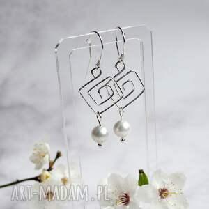 urocze kolczyki srebrne z perłami, perły, perełki, srebro, perełki