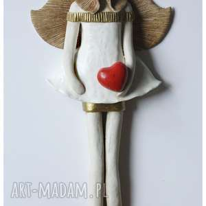 anioł komunijny z wianuszkem, ceramika, anioł, komunia, ślub