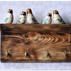 Wieszak półeczka z kolorowymi ptakami, ceramika, wieszak, ptak