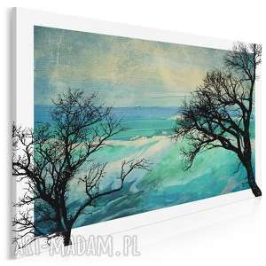 obraz na płótnie - konary turkus 120x80 cm 17901, konary, gałęzie, drzewo