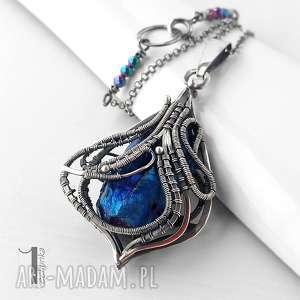 Constellatio V srebrny naszyjnik z kwarcem tytanowym, naszyjnik, srebro, wirewrapping