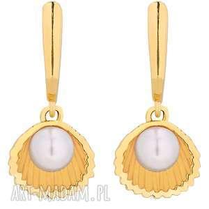 złote kolczyki z muszelkami i perłą swarovski® crystal