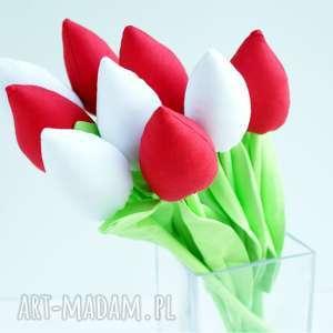 kwiaty bawełniane dekoracja stołu 9 szt - bawełna, tulipany
