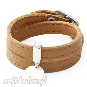 handmade leather belt - caramel with coin