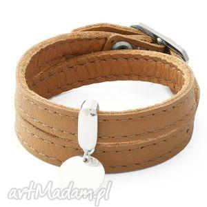 Leather belt - caramel with coin lavoga karmel, moneta, skóra,