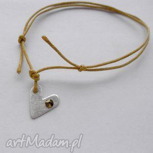 bransoletki serduszko bransoletka, srebro, swarovski, sznurek biżuteria