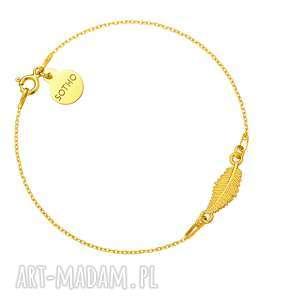 złota bransoletka z liściem sotho - złote bransoletki, pozłacany
