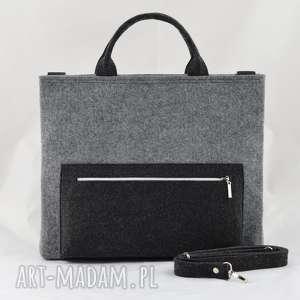 ręcznie wykonane duża torebka - laptopówka minimalizm szary i grafit