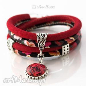 bransoletka z rzemieni maki i róża, zwijana, oplatana, maki, rzemienna, kwiaty