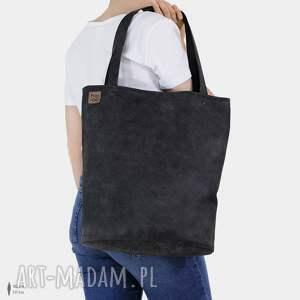 ręcznie robione na ramię shopper xl prosta torba grafitowa zamek / vegan