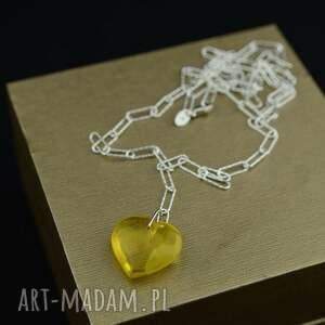 barbara fedorczyk nowoczesny naszyjnik z bursztynowym sercem srebro, serce