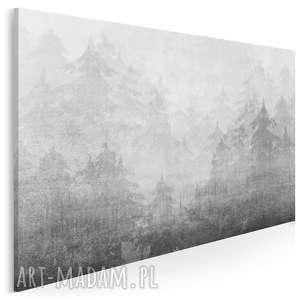 obraz na płótnie - mgła góry drzewa 120x80 cm 48901, góry, mgła