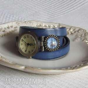 Zegarek Vintage z Grafiką Skórzany Chabrowy, bizuteria, zegarek, bransoletka, skora