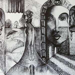 morskie bramy, rysunek, grafika, morze, drzwi, czarnobiałe, dama