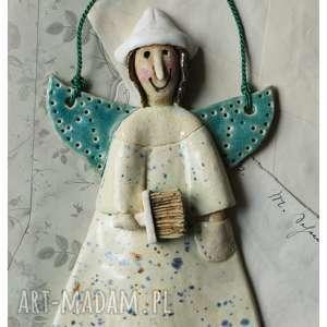 aniołek malarz mały, ceramika, anioł, malarz, pędzel