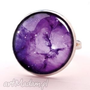 fioletowa nebula - pierścionek regulowany egginegg, kosmiczny, galaxy